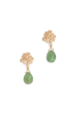 Tide Pool ~ Textured Small Gem Stud Earring 14K w/ Green Tourmaline