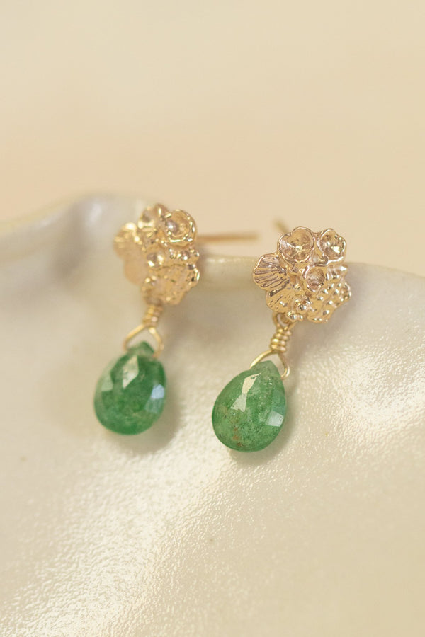 Tide Pool ~ Textured Small Gem Gold Stud Earrings w/ Green Tourmaline - Alexandra Mosher Studio Jewellery Bermuda Fine