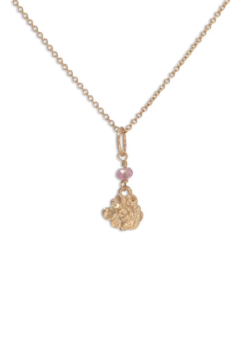 Tide Pool ~ Textured Small Gem Gold Pendant w/ Pink Tourmaline - Alexandra Mosher Studio Jewellery Bermuda Fine