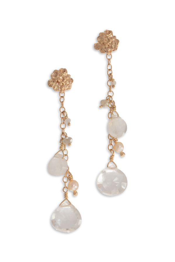 Tide Pool ~ Textured Small Gem Stud Earring 14K w/ White Moonstone, Diamond, Pearl & Rock Crystal