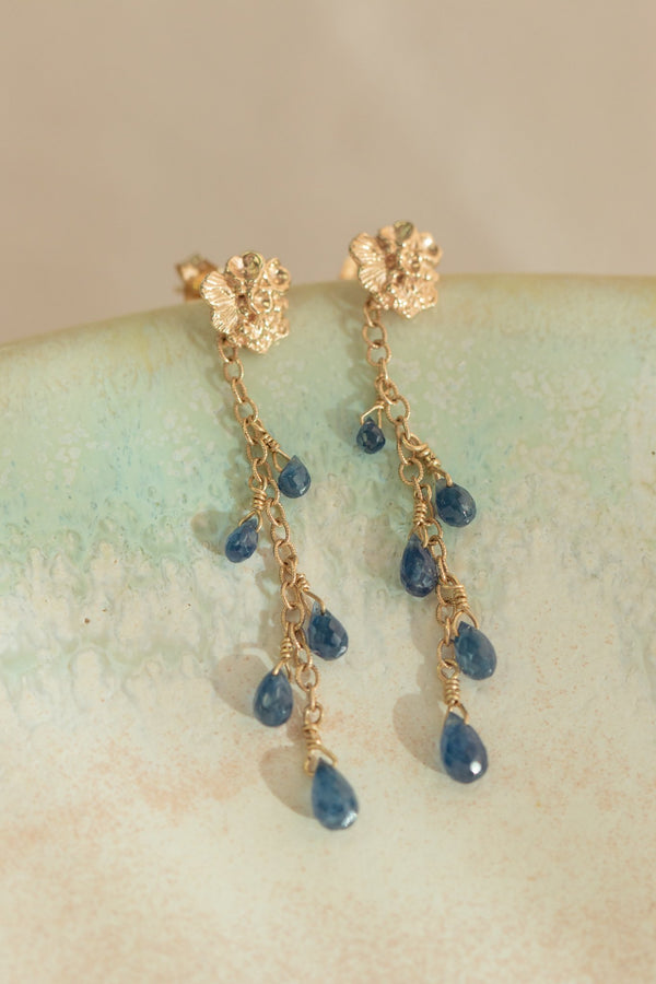 Tide Pool ~ Textured Small Gem Gold Stud Earrings w/ Blue Sapphires - Alexandra Mosher Studio Jewellery Bermuda Fine