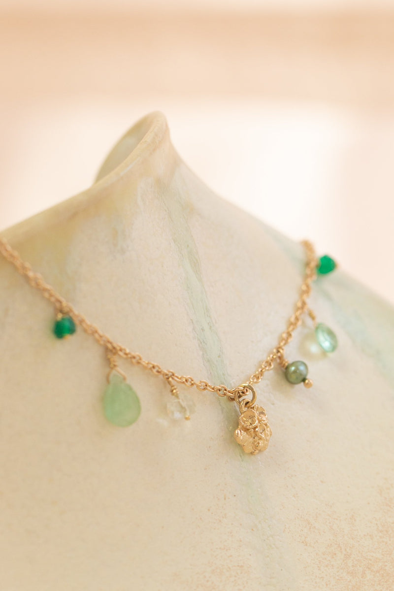 Tide Pool ~ Textured Small Gem Bracelet 14K w/ Green Onyx, Tourmaline, Amethyst, Pearl & Apatite