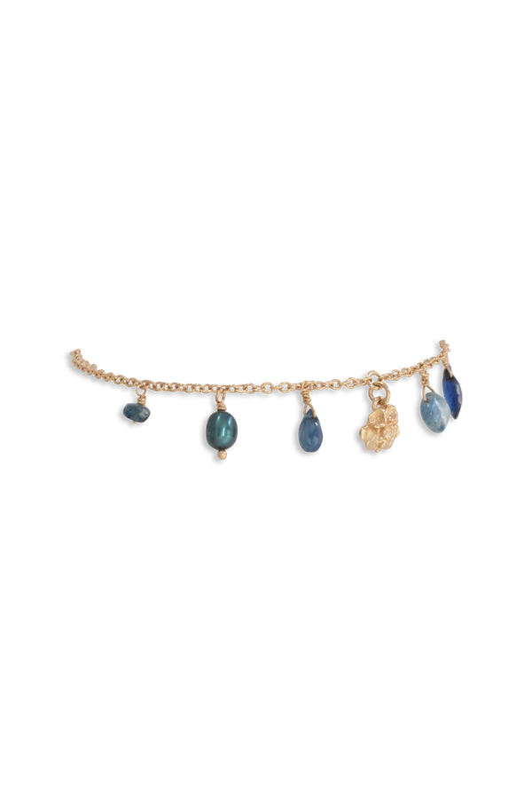 Tide Pool ~ Textured Small Gem Bracelet 14K w/ Kyanite, Pearl & Blue Sapphire