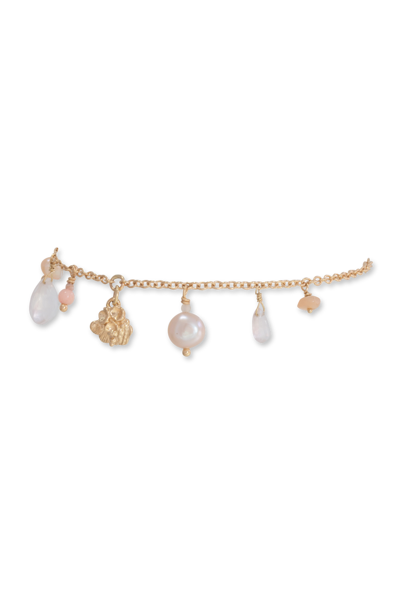 Tide Pool ~ Textured Small Gem Gold Bracelet w/ Pearl, Rose Quartz, Coral & Peach Moonstone - Alexandra Mosher Studio Jewellery Bermuda Fine