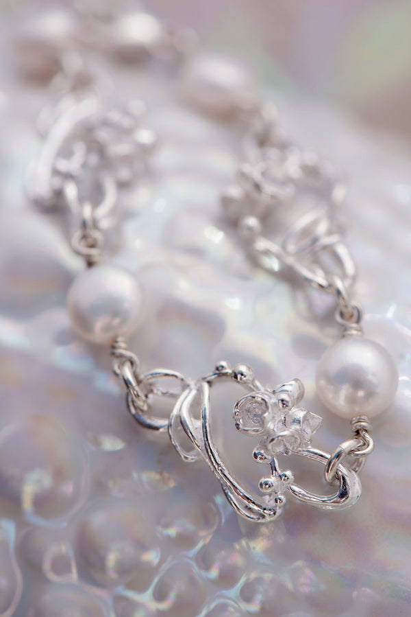Under the Sea ~ Barnacle Link (Small) Pearl Bracelet - Alexandra Mosher Studio Jewellery Bermuda Fine