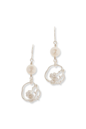 Under The Sea | Small Barnacle Wreath Pearl Drop Earrings