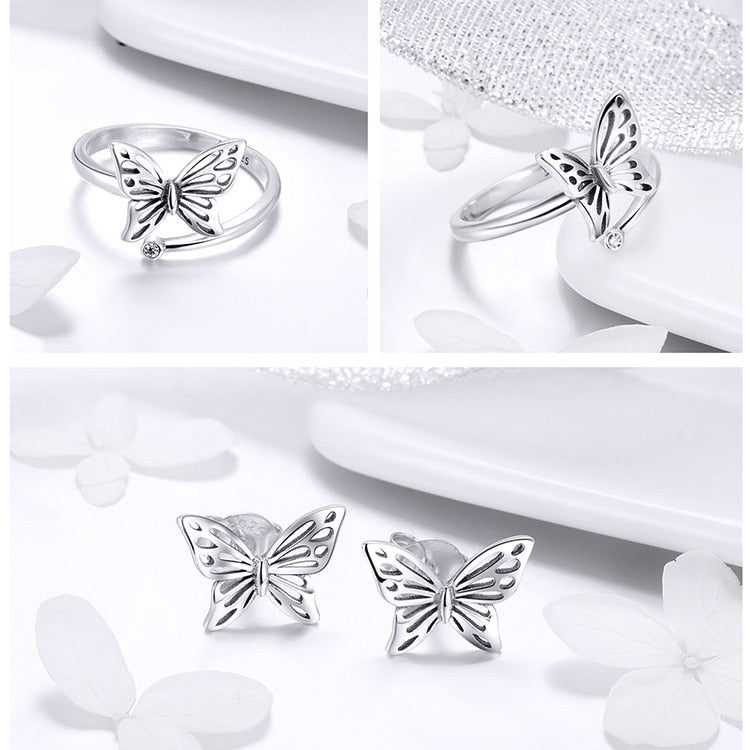 Authentic Sterling Silver Vintage Butterfly Ring & Earrings Jewelry Set