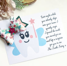 Load image into Gallery viewer, Tooth fairy message with whimsical fairy bow