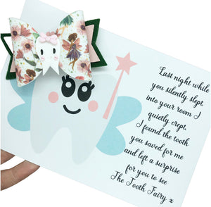 Tooth fairy message with whimsical fairy bow