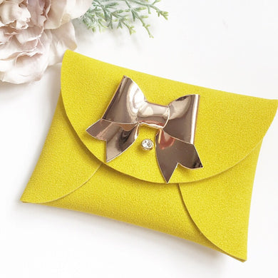 Mustard yellow suede pouchy coin purse