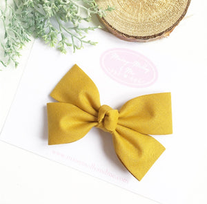 Mustard double fold knot bow