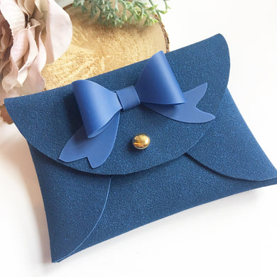 Navy suede pouchy coin purse with bow