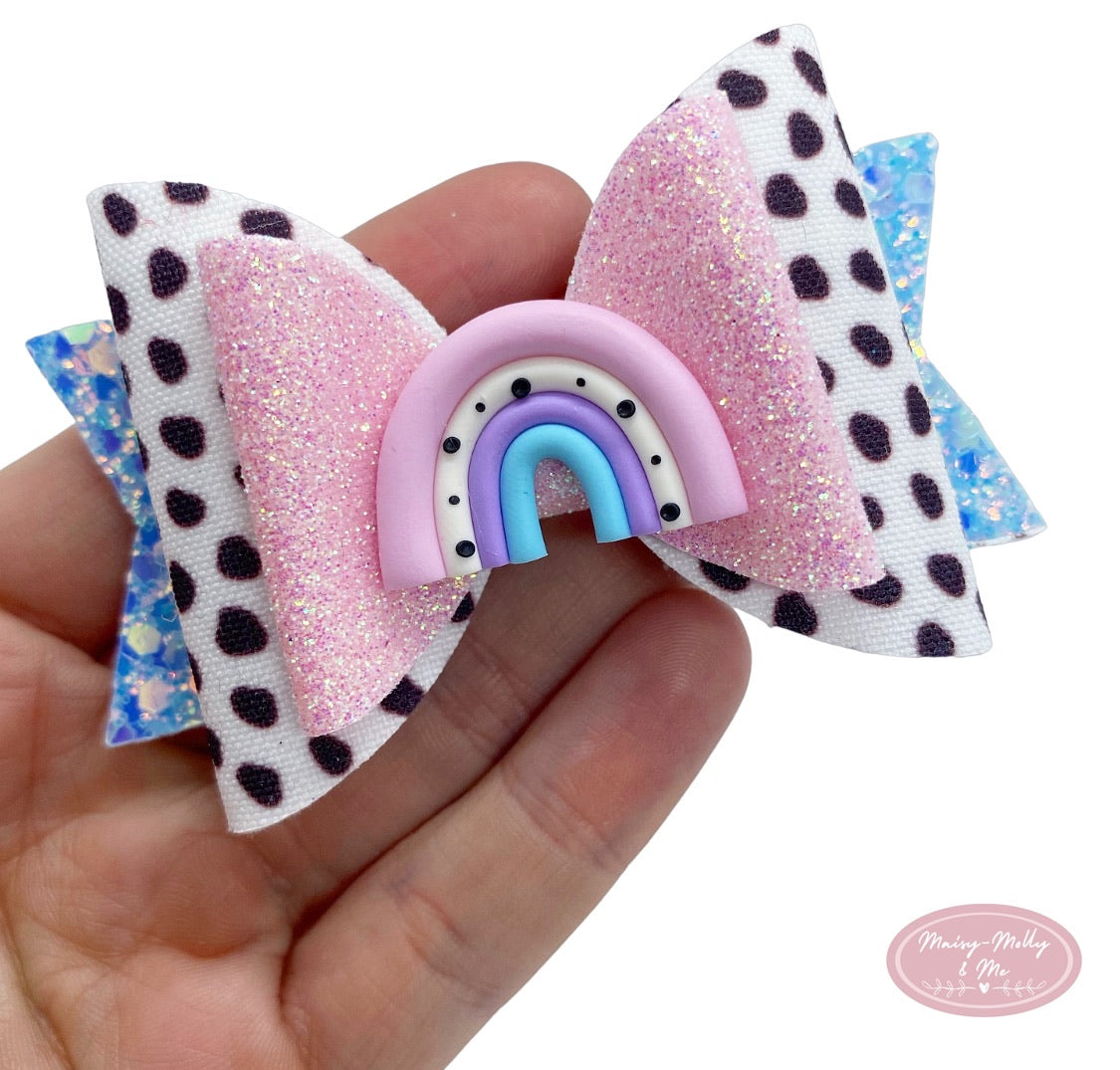 Dalmatian rainbow dolly bow