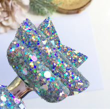 Load image into Gallery viewer, Grey magical sparkles dolly bow