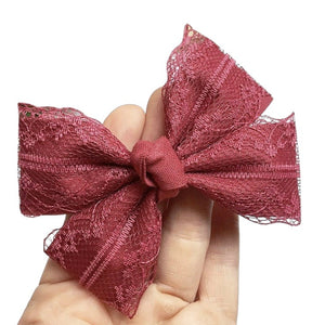 Burgundy lace double fold knot bow