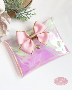 Pink iridescent clear vinyl pouchy purse