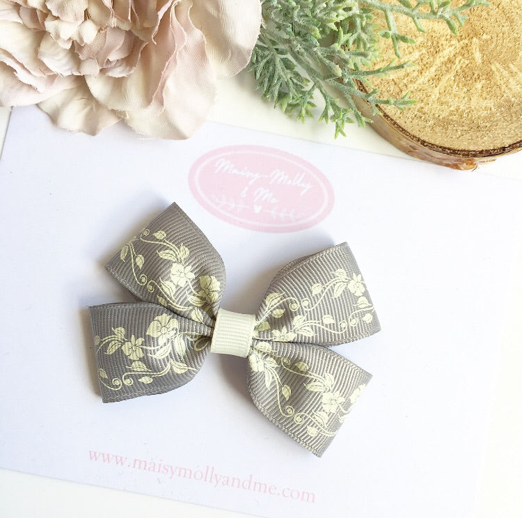 Grey floral  double pinch bow