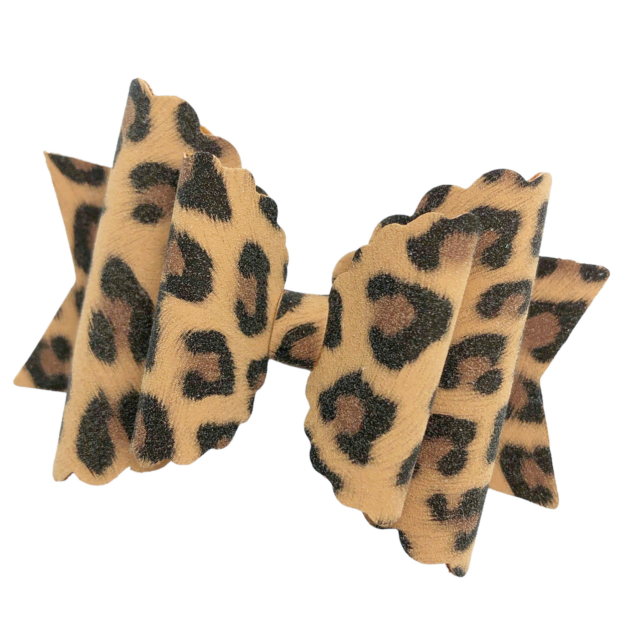 leopard suede print scallop Dolly -TAN
