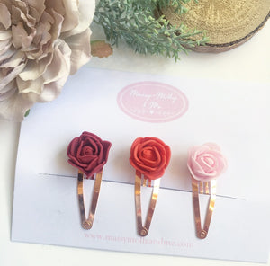 Flower snap clippy set deep red/ red/ pink