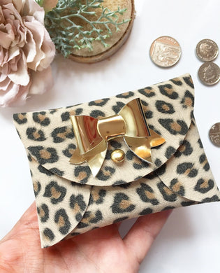 Leopard /gold bow pouchy coin purse