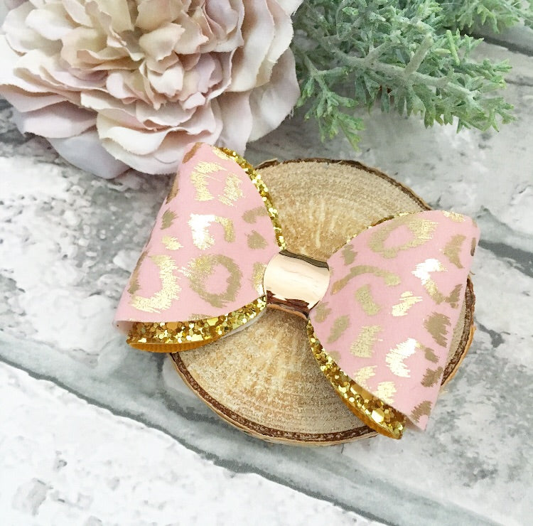 Pink leopard French bow