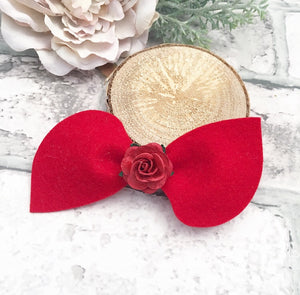 Red flower Lilly bow
