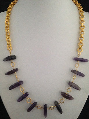 Amethyst Dog Tooth with Gold Chain Maille Necklace