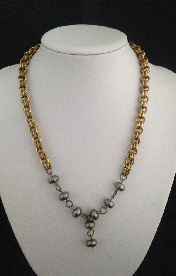 Bronze/Gold Coloured Chain Maille & Pyrite Necklace