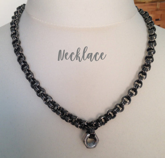 Chunky Gunmetal Chain Maille & Hex Nut Necklace & Bracelet Set