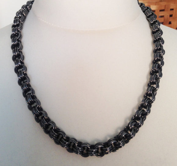 Mega Chunky Gunmetal Chain Maille Necklace