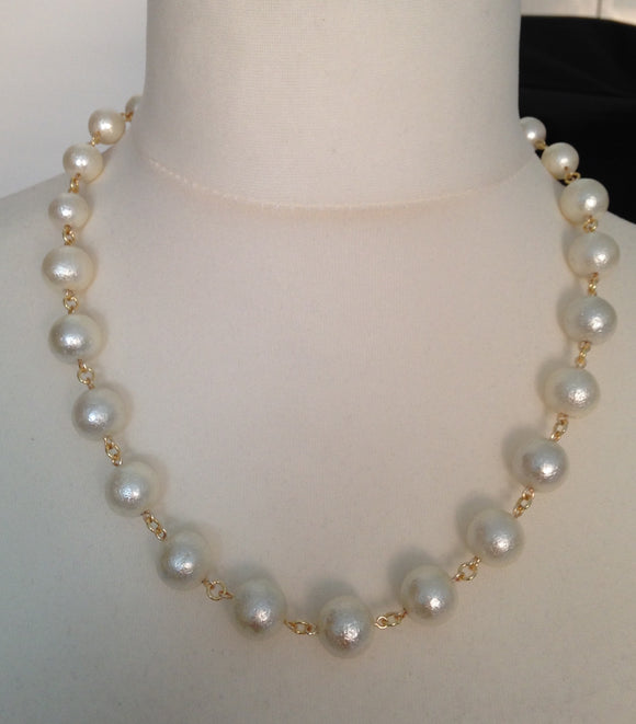 Textured Cream Shell Pearl Graduated Necklace