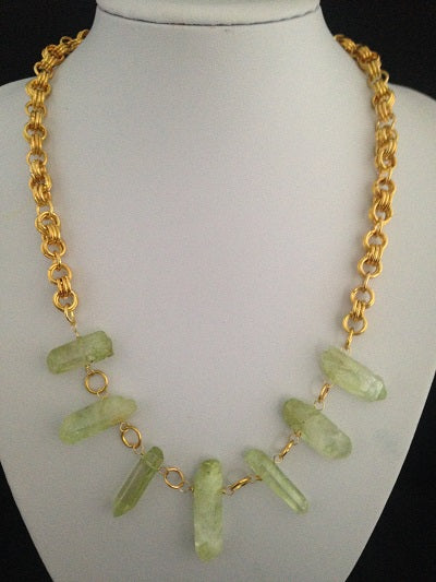 Spring Green Quartz Shards with Gold Coloured Chain Maille Necklace
