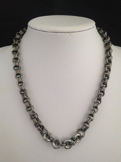4 Hex Nut Chunky Gunmetal Chain Maille Necklace