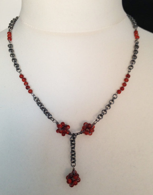 Red Ceramic Beady Bead Necklace & Earring Set with Gunmetal Chain Maille