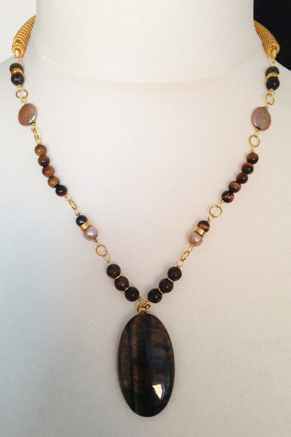 Tigers Eye Cabochon Necklace with Bronzite, Champagne Coloured Pearls & Gold Wire Beads