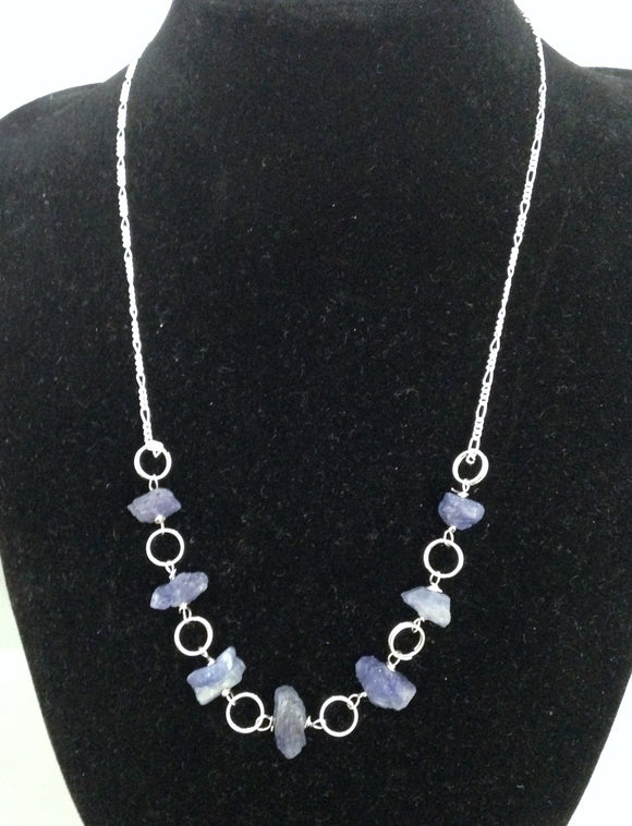 Tanzanite Nugget Sterling Silver Necklace