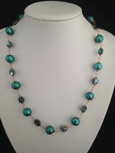 Mermaid Turquoise Pearl, Abalone & Copper Jewellery Suite