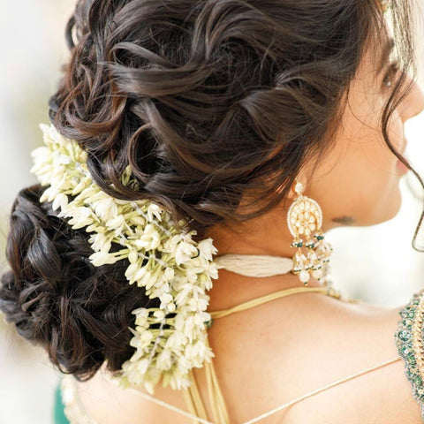 Crimped messy flowy nikkah hair updo
