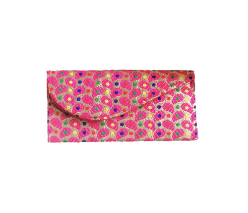 Brocade Luxe Money Wallet - Gold and Pink Paisley Design
