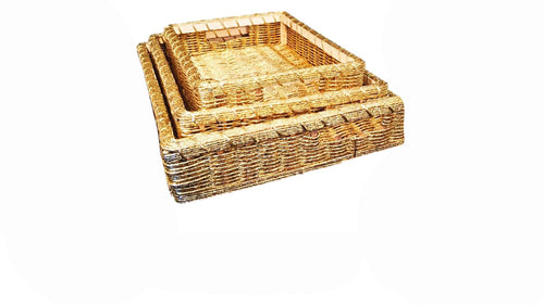 3 Golden Tray Hamper Baskets