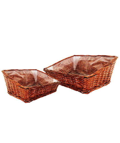 Sloping Wicker Hamper Basket - set of 2
