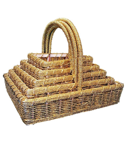 5 Square Golden Hamper Baskets with Handles