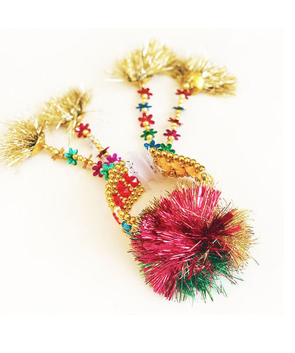 Tinsel pom pom and bead bracelet Ghana