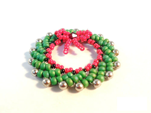 Christmas Wreath Ornament Beading Pattern