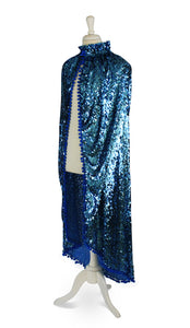 One-of-a-Kind Aqua Blue Sequin Cape