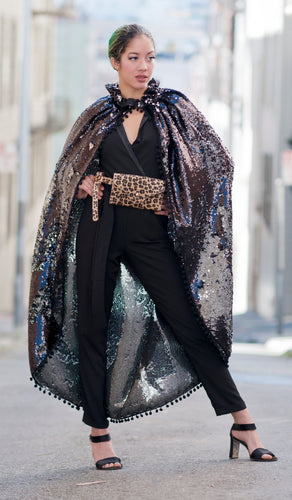 Black and Silver Sequin Fringe Cape