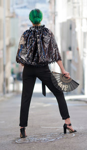 Black and Silver Reversible Sequin Short Cape with Pom Fringe