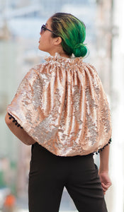 Gold and Silver Reversible Sequin Short Cape with Pom Fringe