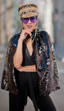 Load image into Gallery viewer, Reversible Sequin Short Cape - Multiple Colors Available
