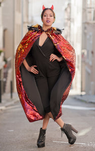 Fire Breather Red and Gold Sequin Cape
